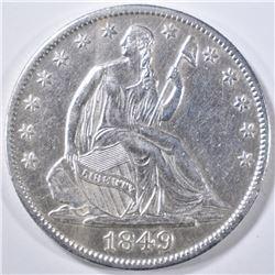 1849-O SEATED LIBERTY HALF DOLLAR  AU