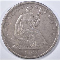 1862-S SEATED LIBERTY HALF DOLLAR  AU+