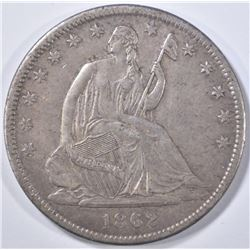 1862-S SEATED LIBERTY HALF DOLLAR  AU+