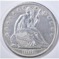 1868-S SEATED LIBERTY HALF DOLLAR  AU/BU
