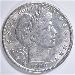 1908-O BARBER HALF DOLLAR  AU