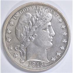 1913 BARBER HALF DOLLAR  AU