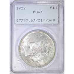 1922 PEACE DOLLAR  PCGS MS-63 OLD RATTLER