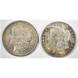 1885-O RAINBOW & 1889 MORGAN DOLLARS BOTH CH BU