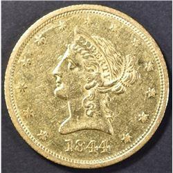 1844-O $10 GOLD LIBERTY AU++
