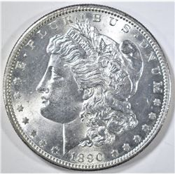 1890-S MORGAN DOLLAR CH/GEM BU, REV IS PL