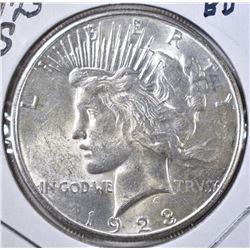 1923-S PEACE DOLLAR, GEM BU NICE