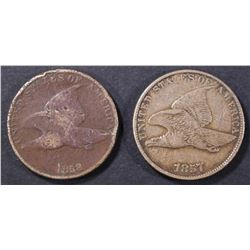 1857 VF/XF SCRATCH & 58 DAMAGED FLYING EAGLE CENTS