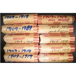 10-ROLLS MIXED DATE CIRC LINCOLN CENTS 1909-1919
