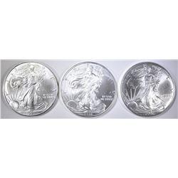 1999, 2002 & 2010 BU AMERICAN SILVER EAGLES