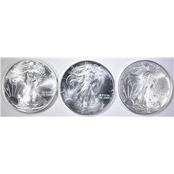 1993, 95 & 97 BU AMERICAN SILVER EAGLES