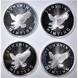 4-SUNSHINE MINT ONE OUNCE .999 SILVER ROUNDS
