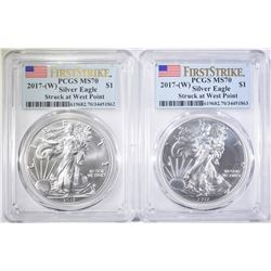 2 2017 (W) SILVER EAGLES PCGS MS-70 FIRST STRIKE