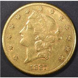 1887-S $20 GOLD LIBERTY AU
