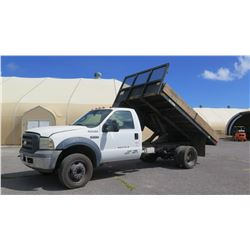 2006 Ford F550 Flatbed w/ Dump Feature, LIC 633TTS, Runs & Drives, See Video