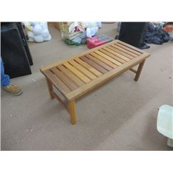 FOOT BACKLESS SLAT PATIO BENCH/COFFEE TABLE