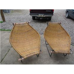 PAIR OF VINTAGE DECO INSPIRED WICKER CHAIRS