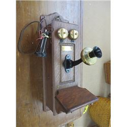 ANTIQUE WOODEN WALL PHONE, BY B & R ELECTRIC & TELEPHONE CO.
