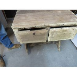PRIMITIVE 2 DRAWER WOODEN TABLE
