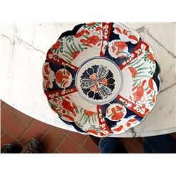 BEAUTIFUL RED AND BLUE CERAMIC BOWL, HAND PAINTED