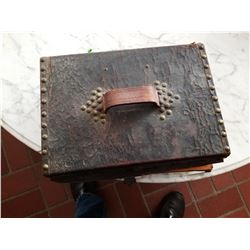 OLD LEATHER BOX WITH KEY