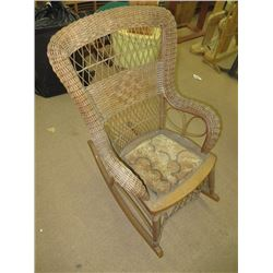 ANTIQUE WICKER ROCKER, SOME DAMAGE