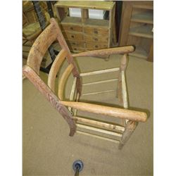 ANTIQUE OAK CHAIR, NO SEAT