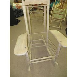 ANTIQUE ROCKER WITH DESK TYPE ARMS, NO SEAT