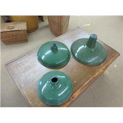 3 GREEN ENAMEL LAMP SHADES