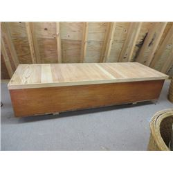 6 FT ANTIQUE BLANKET BOX, WITH NEWER TOP