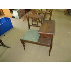ANTIQUE TELEPHONE CHAIR / TABLE