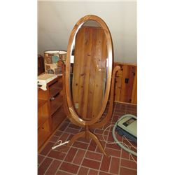 ANTIQUE MIRROR ON FLOOR STAND