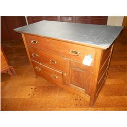 ANTIQUE SLATE TOP CHEST