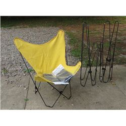 THREE BUTTERFLY WIRE FRAME / CANVAS FOLDING CHAIRS