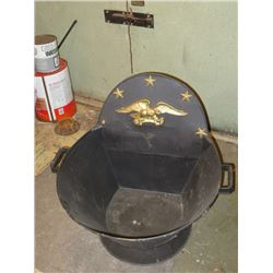 BUNDLE LOT: FIREPLACE COAL HODS (2) / METAL HEAVY DUTY TRAY WITH HANDLES