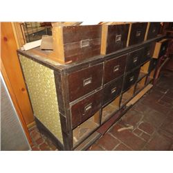 ANTIQUE 15 DRAWER STORAGE CHEST, 3 DEEP, 5 ACROSS