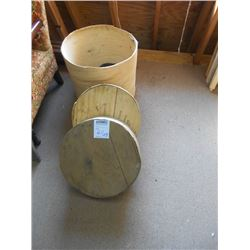 2 VERMONT CHEDDAR CHEESE WHEEL BOXES, 1 WOODEN SLAT BASKET