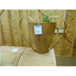 BEAUTIFUL WICKER PLANTER BASKET WITH HEART SHAPED HANDLE