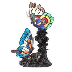 """Tiffany-style 2 Light Butterfly Table Lamp 17"""" Tall"""