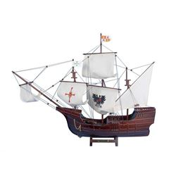 """Wooden Santa Maria with Embroidery Tall Model Ship 30"""""""