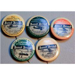 Amelia Earhart/Bond Bread Buttons (5) JMD-15224