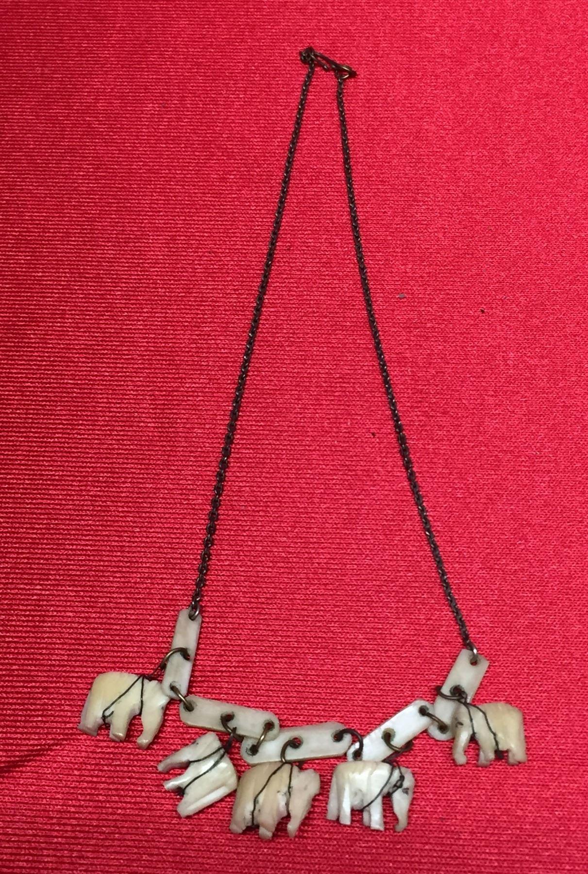 Antique Bone Carved Elephant Necklace