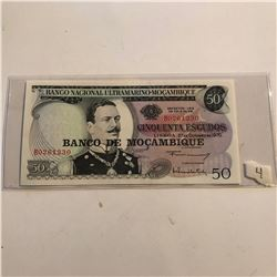 Uncirculated Large MOCAMBIQUE 50 ESCUDOS Bank Note Serial B0261230