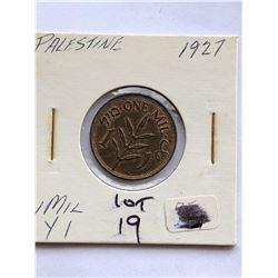 1927 Palestine 1 Mil Coin Nice