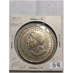 1957 Mexico Silver Large Un Peso Coin in MS High Grade