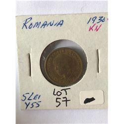 1930 Romania 5 Lei Coin