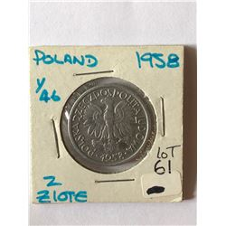1958 Polland 2 Zlote Coin in MS High Grade