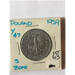 1959 Polland 2 Zlote Coin in MS High Grade