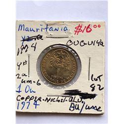 Rare 1974 Mauritanio 1 Ouguiya Coin in BU High Grade