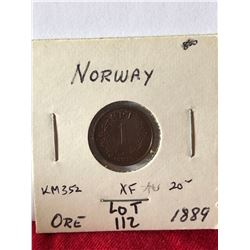 1889 Norway 1 Ore Coin in Extra Fine Grade